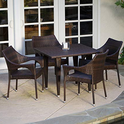 5 Piece Outdoor Wicker Dining Set With Intended For Delmar 5 Piece Dining Sets (View 1 of 20)