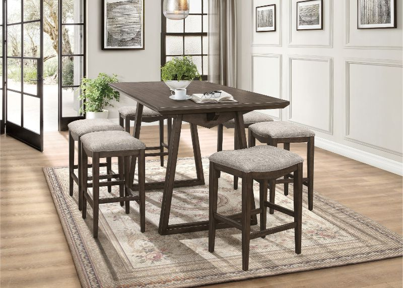 7 Pc Kirke Brown Finish Wood Fabric Padded Stools Mid Century Modern Within Famous Linette 5 Piece Dining Table Sets (View 1 of 20)
