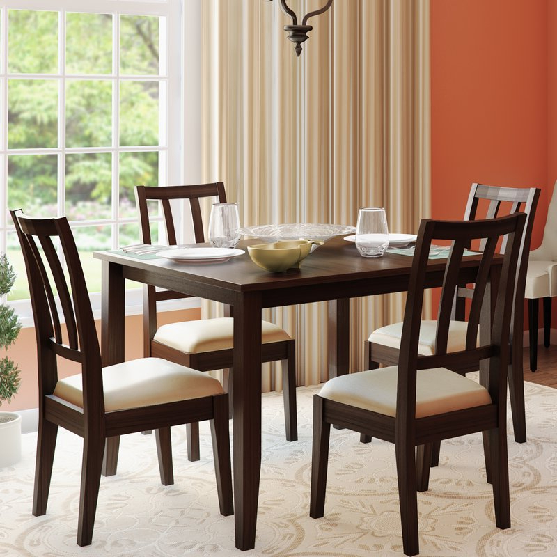 Alcott Hill Primrose Road 5 Piece Solid Wood Dining Set & Reviews Within Well Known 5 Piece Dining Sets (Gallery 8 of 20)