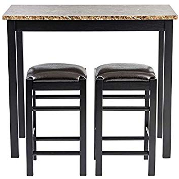 Amazon – 3 Pc Counter Dining Set In Espresso Finish – Table In Preferred Tappahannock 3 Piece Counter Height Dining Sets (Gallery 15 of 20)