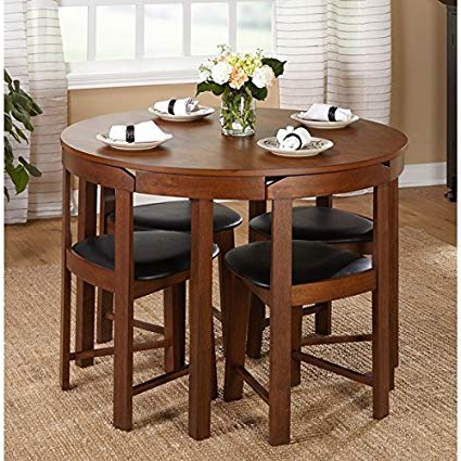 Amazon – 5 Piece Compact Round Dining Set Home Living Room In Fashionable Debby Small Space 3 Piece Dining Sets (View 2 of 20)
