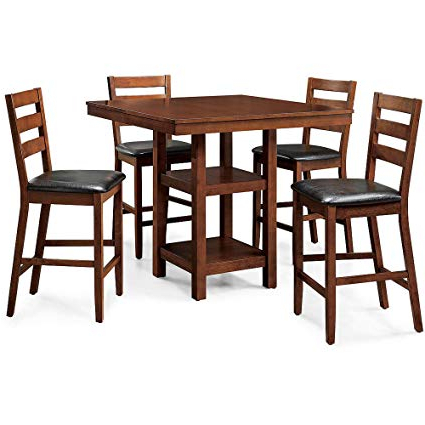 Amazon – 5 Piece Dalton Park Counter Height Dining Set, Mocha Throughout Trendy Denzel 5 Piece Counter Height Breakfast Nook Dining Sets (View 3 of 20)
