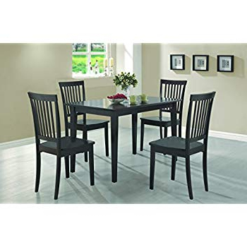 Amazon – Coaster 5 Piece Dining Set, Table Top With 4 Chairs Regarding Preferred Kieffer 5 Piece Dining Sets (View 10 of 20)