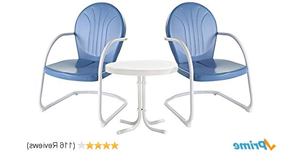 Amazon: Crosley Furniture Griffith 3 Piece Metal Outdoor Regarding Well Liked Bate Red Retro 3 Piece Dining Sets (View 2 of 20)