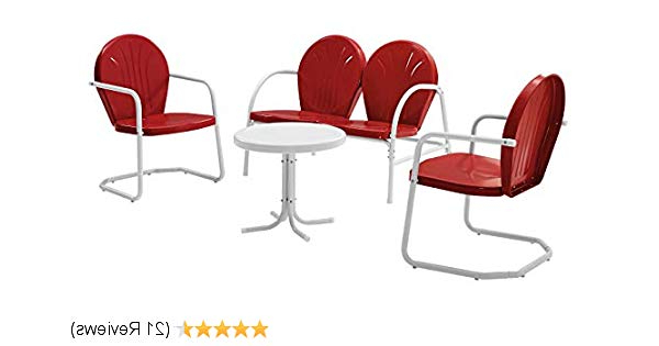 Amazon : Crosley Furniture Griffith 4 Piece Metal Outdoor With Most Up To Date Bate Red Retro 3 Piece Dining Sets (Gallery 14 of 20)
