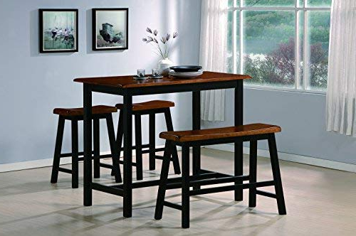 Amazon – Crown Mark Tyler 4 Piece Counter Height Table Set In Well Known Winsted 4 Piece Counter Height Dining Sets (View 13 of 20)