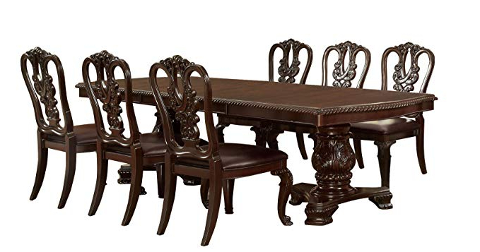 Amazon – Furniture Of America Evangelyn 7 Piece Dining Set With Inside Most Recently Released Linette 5 Piece Dining Table Sets (Gallery 6 of 20)