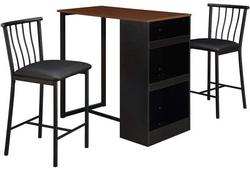 Amazon – Isla 3 Piece Counter Height Dining Set With Storage In Well Known Moorehead 3 Piece Counter Height Dining Sets (View 10 of 20)