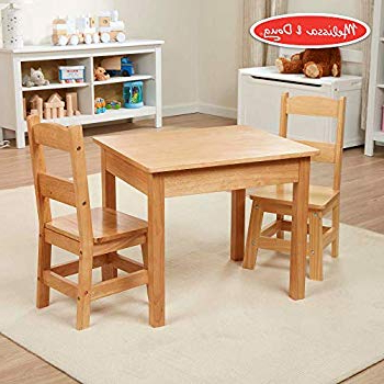 Amazon: Kidkraft 21421 Farmhouse Table & 4 Chair Set, Natural Pertaining To Popular Falmer 3 Piece Solid Wood Dining Sets (View 5 of 20)