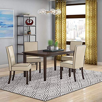 Amazon – Simple Interior 5 Piece Dining Set – Wood Table And 4 With Regard To Most Recent 5 Piece Breakfast Nook Dining Sets (Gallery 19 of 20)