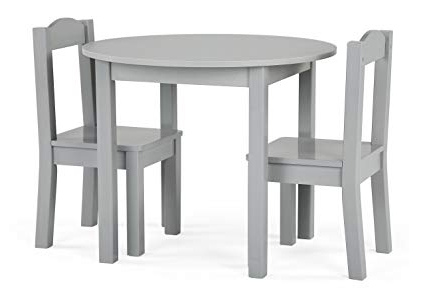 Amazon: Tot Tutors Tc763 Table And Chair, 3 Piece, Grey: Kitchen Inside Fashionable Springfield 3 Piece Dining Sets (Gallery 10 of 20)