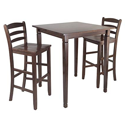 Amazon: Winsome Kingsgate High/pub Dining Table With Ladder Back Pertaining To Most Current Winsome 3 Piece Counter Height Dining Sets (View 11 of 20)
