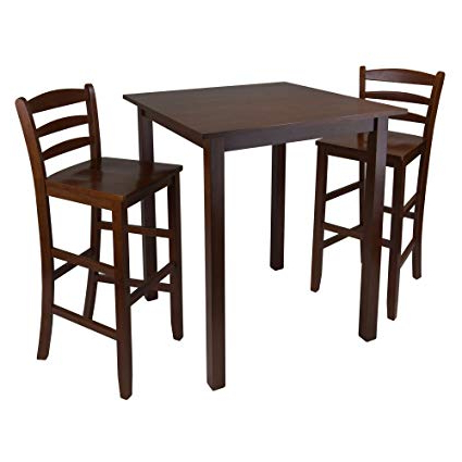 Amazon: Winsome Parkland 3 Piece High Table With Ladder Back Intended For Favorite Winsome 3 Piece Counter Height Dining Sets (Gallery 15 of 20)