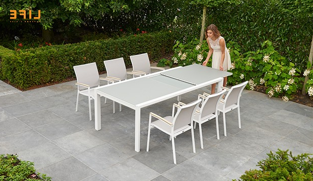 Anabel Dining Extendable White – Life Outdoor Living With Regard To Preferred Osterman 6 Piece Extendable Dining Sets (Set Of 6) (Gallery 17 of 20)