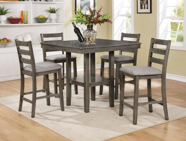 Anette 3 Piece Counter Height Dining Sets Intended For Trendy Cm2630Set Gy 5 Pc Grey Brown Finish Wood Counter Height Dining Table (Gallery 7 of 20)