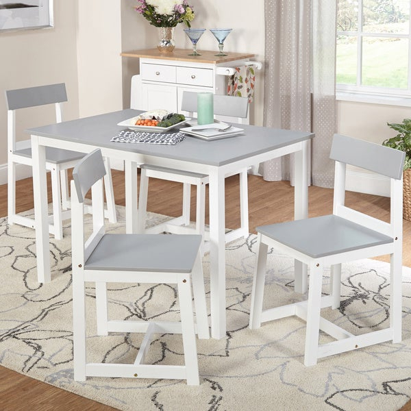 Aria 5 Piece Dining Sets Regarding Most Current Shop Simple Living Aria 5 Piece Light Grey And White Dining Set (Gallery 3 of 20)
