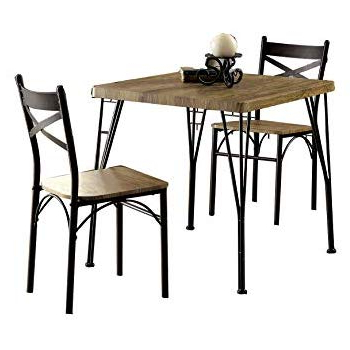 Baillie 3 Piece Dining Sets With Well Known Amazon – 3 Piece Dining Set With Drop Leaf Beige And Natural (View 5 of 20)