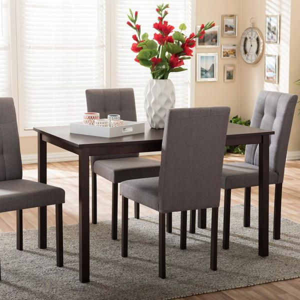 Baxton Studio Andrew 9 Grids 5 Piece Gray Fabric Upholstered Dining Inside 2017 5 Piece Dining Sets (Gallery 9 of 20)
