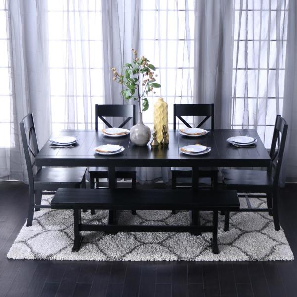 Bedfo 3 Piece Dining Sets Inside Famous Walker Edison Furniture Company Millwright 6 Piece Black Dining Set (View 4 of 20)