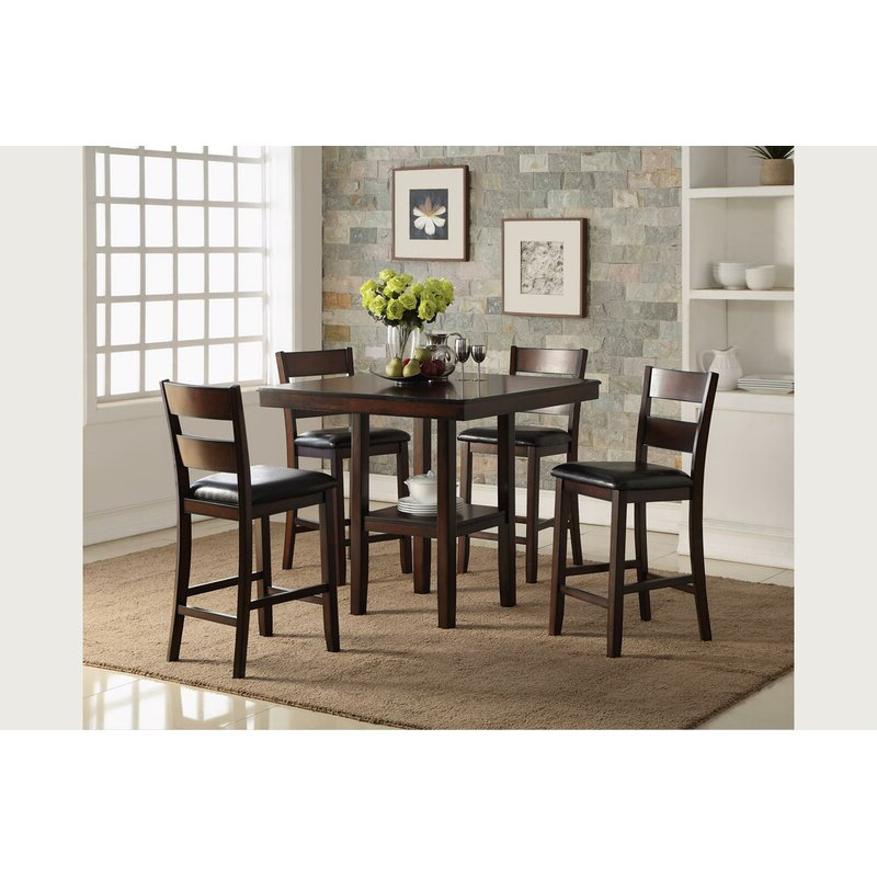 Bernards Cromwell Counter 5 Piece Breakfast Nook Solid Wood Dining Regarding Famous 5 Piece Breakfast Nook Dining Sets (View 9 of 20)