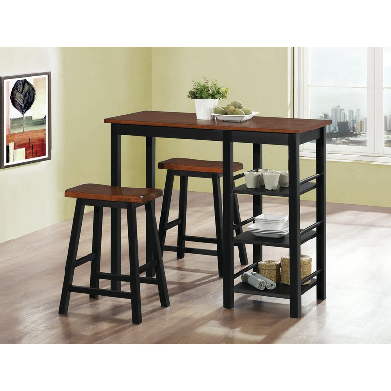 Berrios 3 Piece Counter Height Dining Set & Reviews (View 9 of 20)