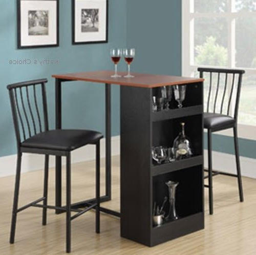 Berrios 3 Piece Counter Height Dining Sets With Preferred Bistro Table Set Bar Pub 3 Piece 2 Stools Dining Kitchen Furniture (View 4 of 20)