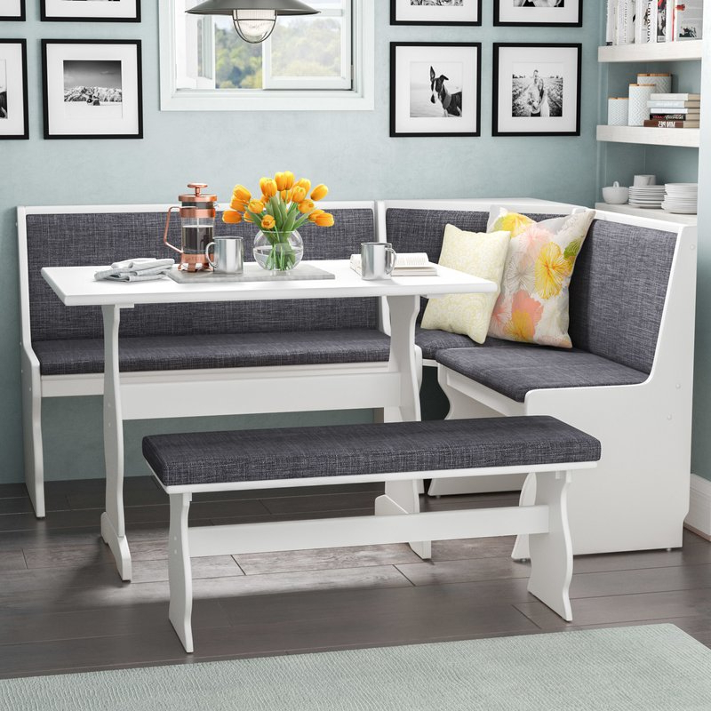 Best And Newest 3 Piece Breakfast Nook Dinning Set Within 3 Pc Gray White Top Breakfast Nook Dining Set Corner Booth Bench (View 4 of 20)