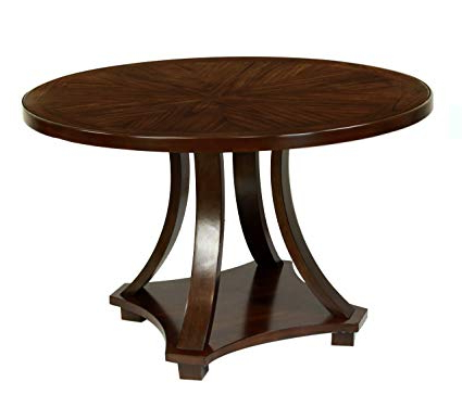 Best And Newest Amazon – Furniture Of America Fluxeur Round Dining Table, Dark Pertaining To Biggs 5 Piece Counter Height Solid Wood Dining Sets (Set Of 5) (Gallery 14 of 20)