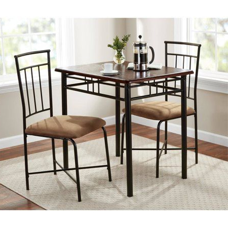 Best And Newest Mainstays 3 Piece Dining Set, Wood And Metal (Gallery 20 of 20)