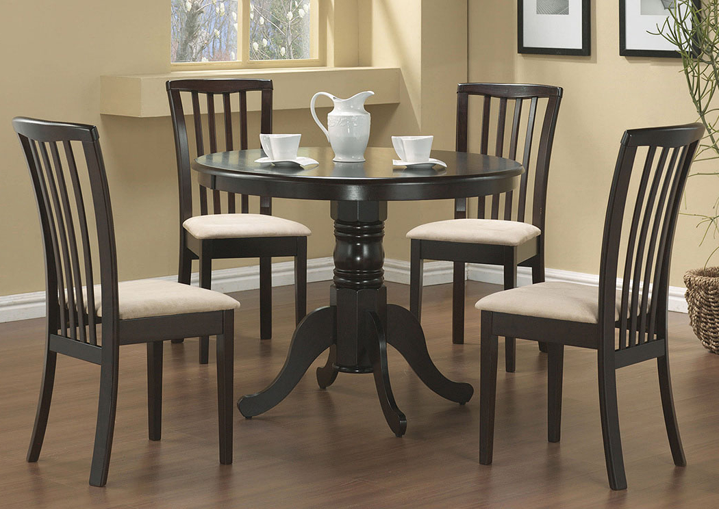 Best And Newest Northwoods 3 Piece Dining Sets With Furniture Palace Table W/4 Beige & Cappuccino Chairs (View 2 of 20)