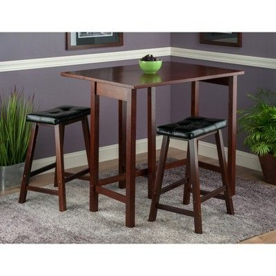 Bettencourt 3 Piece Counter Height Solid Wood Dining Sets In Preferred 3 Piece Lynnwood Set Drop Leaf High Table With Cushion Counter (Gallery 3 of 20)