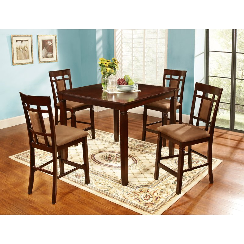 Biggs 5 Piece Counter Height Solid Wood Dining Sets (Set Of 5) Intended For Latest Nathanielhome 5 Piece Counter Height Dining Set & Reviews (View 4 of 20)