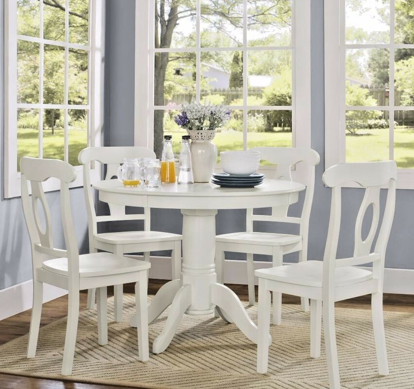 Breakfast Nook Dining Table Set 4 Chairs White Round Pedestal 5 With Regard To Popular 5 Piece Breakfast Nook Dining Sets (View 18 of 20)