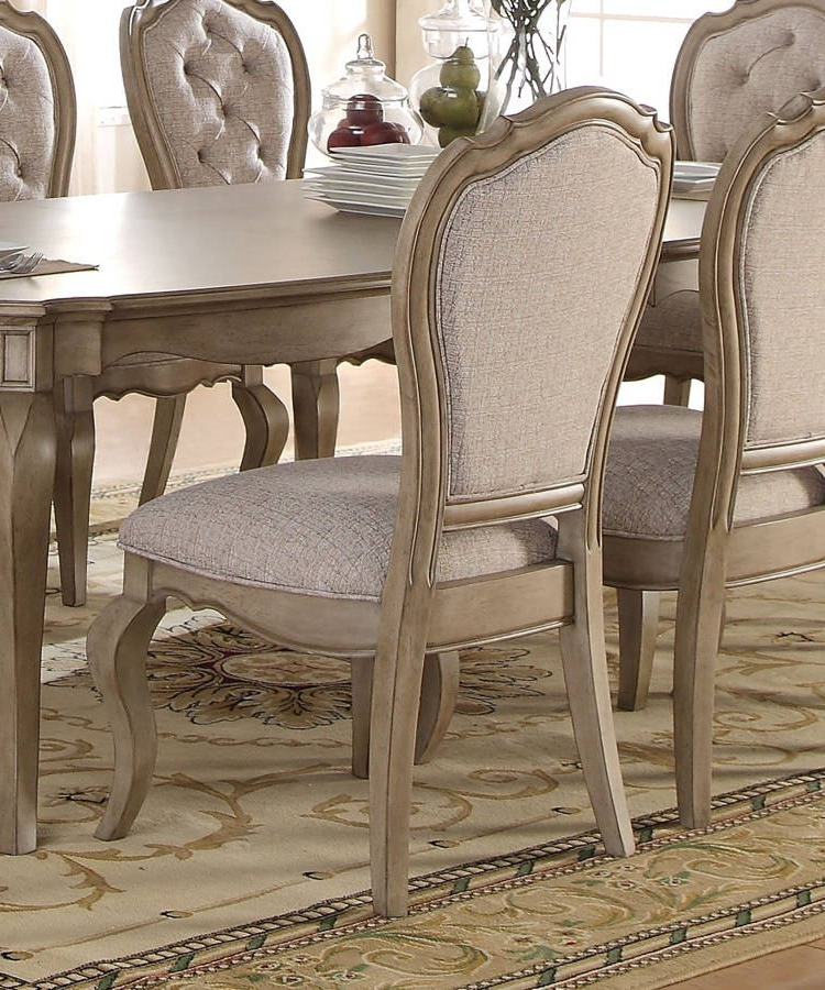 Chelmsford 3 Piece Dining Sets With Regard To Popular Acme Chelmsford Side Chair In Antique Taupe (Set Of 2) 66052 (Gallery 12 of 20)
