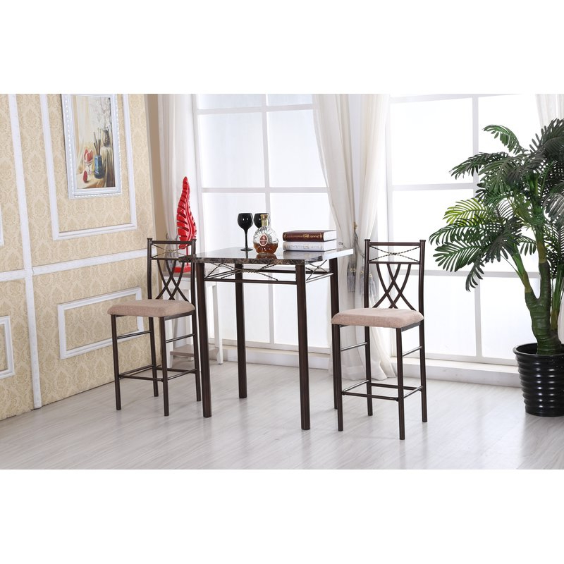 Cincinnati 3 Piece Dining Sets Regarding Best And Newest Andover Mills Cincinnati 3 Piece Dining Set & Reviews (View 4 of 20)