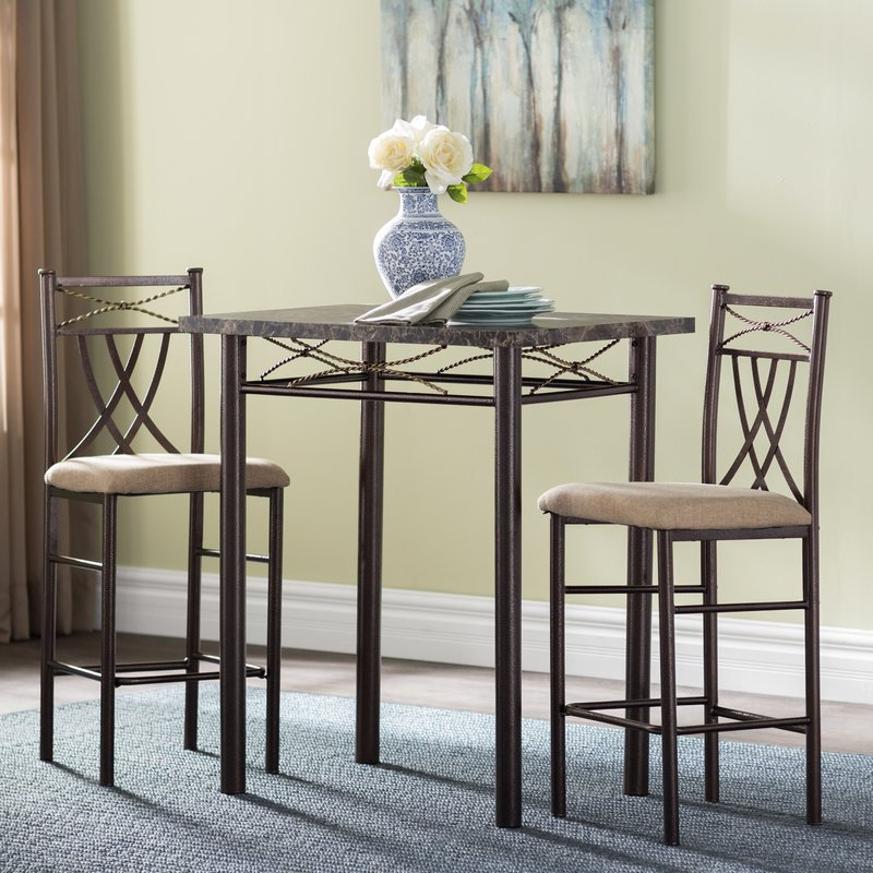 Cincinnati 3 Piece Dining Sets Throughout 2020 Andover Mills Cincinnati 3 Piece Dining Set & Reviews (Gallery 1 of 20)