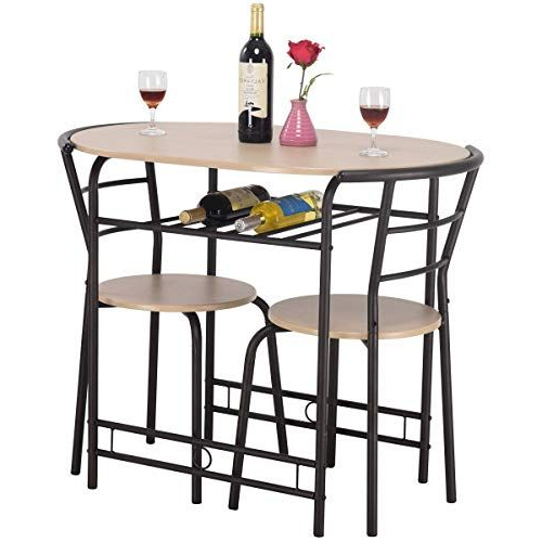 Contemporary 3 Piece Dining Set  1 Table With Wine Rack, 2 Ergonomic With Regard To Most Up To Date Miskell 3 Piece Dining Sets (View 3 of 20)