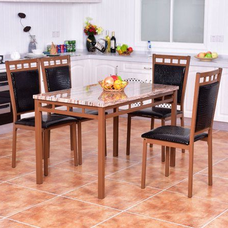 Costway 5 Pc Dining Set Faux Marble Table And Pu Chairs Home Kitchen Regarding Recent Tarleton 5 Piece Dining Sets (View 6 of 20)