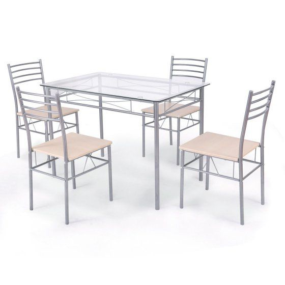 Costway 5 Piece Dining Set Table And 4 Chairs Glass Top Kitchen Intended For Most Popular Stouferberg 5 Piece Dining Sets (View 6 of 20)