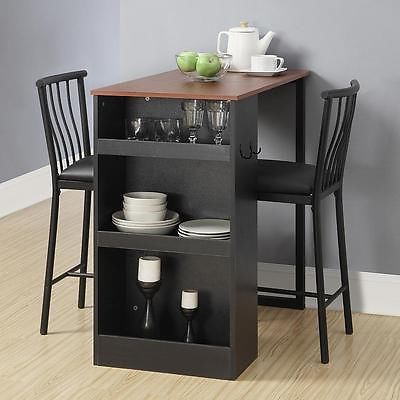 Counter Height Table Pub Dining Space Saving 3 Pieces Storage Chairs With Most Recently Released Partin 3 Piece Dining Sets (Gallery 13 of 20)