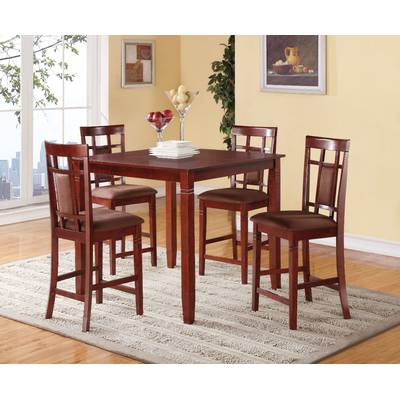 Current Alcott Hill Biggs 5 Piece Counter Height Solid Wood Dining Set (Gallery 5 of 20)