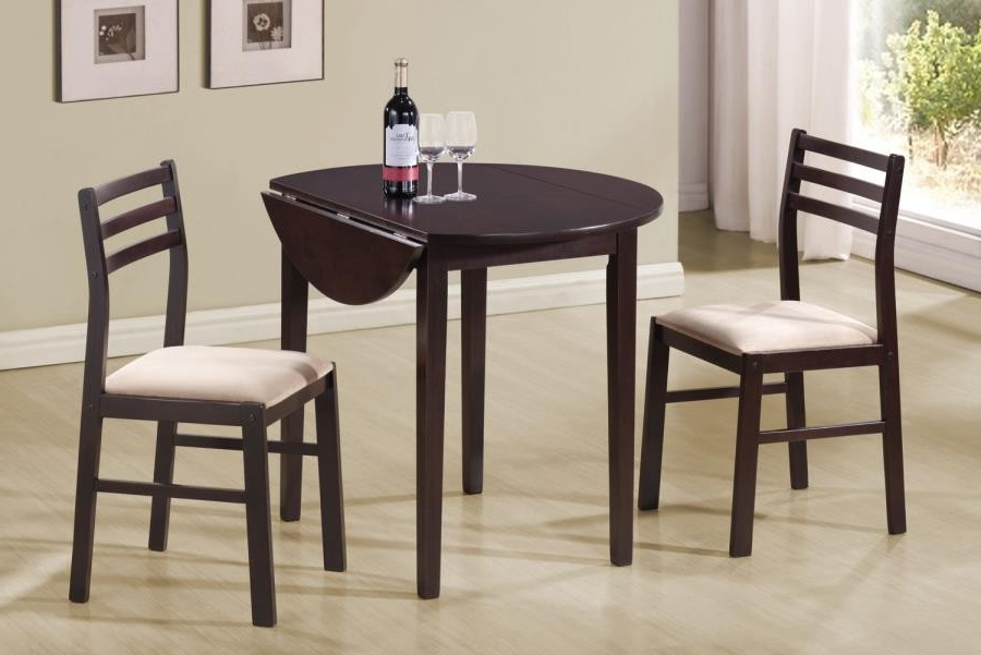 Current Bedfo 3 Piece Dining Sets Within Packaged Sets: 3 Pc Set – Casual Cappuccino Three Piece Dining Set (Gallery 2 of 20)