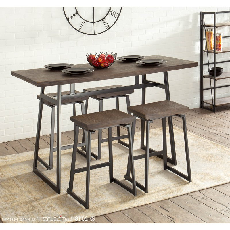 Current Berrios 3 Piece Counter Height Dining Sets Throughout Cassiopeia Industrial 5 Piece Counter Height Dining Set & Reviews (View 8 of 20)