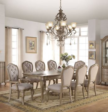Current Chelmsford 3 Piece Dining Sets Within Acme Chelmsford 9Pc Dining Set In Antique Taupedining Rooms Outlet (View 9 of 20)