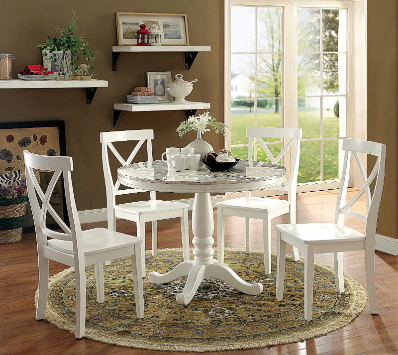 "Current Cm3546Rt  5 Pc Penelope White Finish Wood And Faux Marble 42"" Round Throughout Penelope 3 Piece Counter Height Wood Dining Sets (View 4 of 20)"