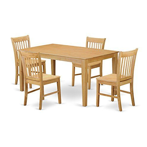 Current East West Furniture Cano5Oakw 5Piece Dining Table Set — Visit The For Bettencourt 3 Piece Counter Height Solid Wood Dining Sets (Gallery 19 of 20)