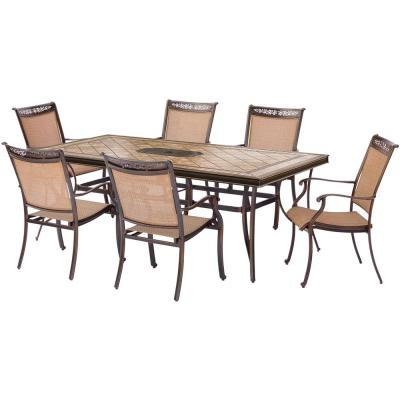 Current Laconia 7 Pieces Solid Wood Dining Sets (Set Of 7) With Regard To Hanover Brigantine 7 Piece Patio Outdoor Dining Set Brigantine7Pc (Gallery 16 of 20)