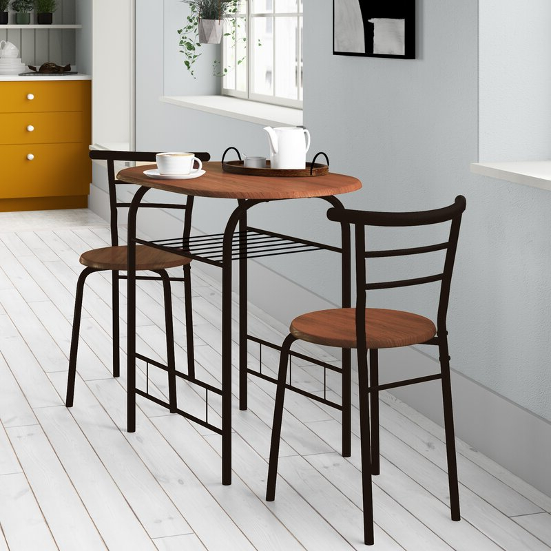Current Zipcode Design Volmer 3 Piece Compact Dining Set & Reviews (View 3 of 20)