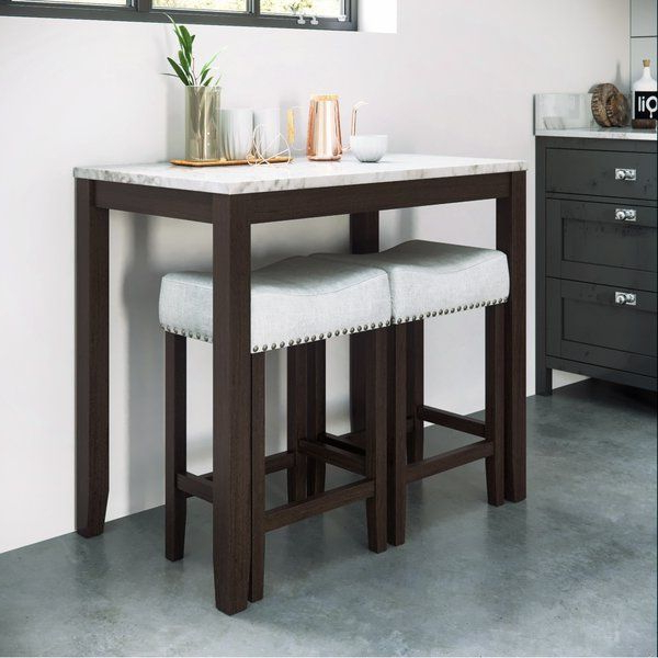 Debby Small Space 3 Piece Dining Sets In Most Up To Date Debby Small Space 3 Piece Dining Set In  (View 6 of 20)