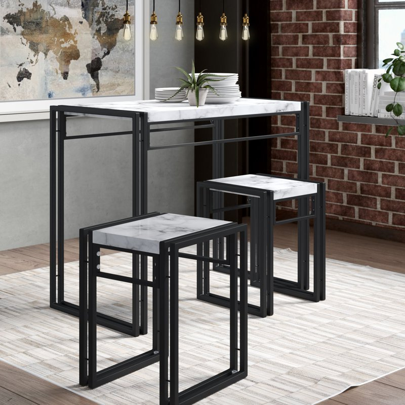 Featured Photo of Debby Small Space 3 Piece Dining Sets